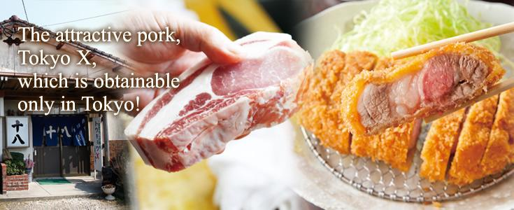 The attractive pork, Tokyo X, which is obtainable only in Tokyo!
